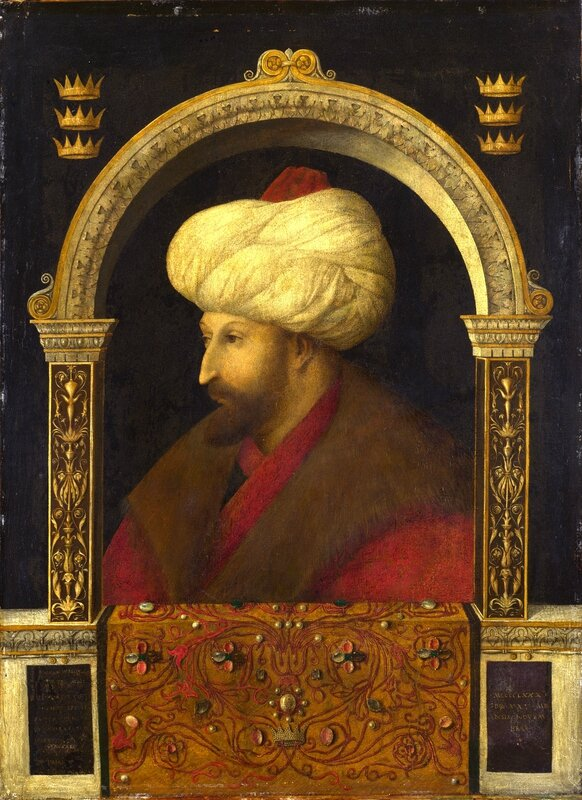 Gentile Bellini (attributed to), Portrait of Sultan Mehmet II (1480) Canvas © The National Gallery London