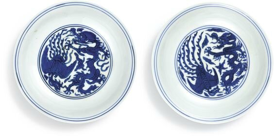 A pair of blue and white 'dragon and phoenix' dishes, Marks and period of Wanli (1573-1619)