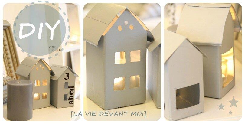 diy fabriquer une petite maison photophore la vie devant moi. Black Bedroom Furniture Sets. Home Design Ideas