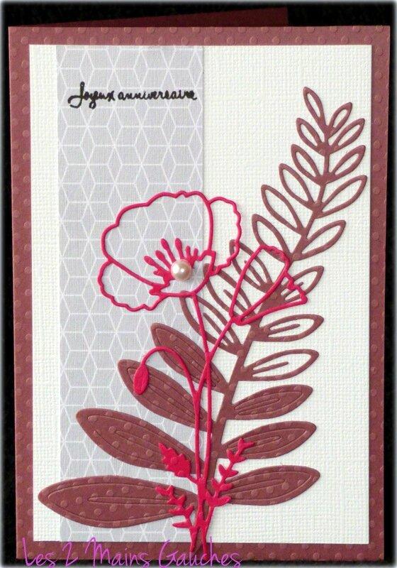 carte d'anniversaire féminine rose avec fougère et coquelicot