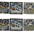 Five pairs of embroidered civil rank badges with applied birds, late qing-republic period