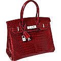World auction handbag record for a red crocodile hermes diamond birkin handbag