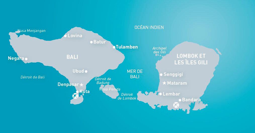 Carte Bali Et Gili.Lombok Notre Escapade Asiatique