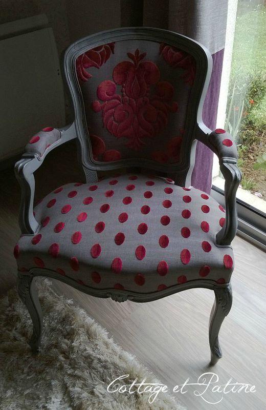 Cottage et Patine fauteuil louis 15 relooké grisé (après)
