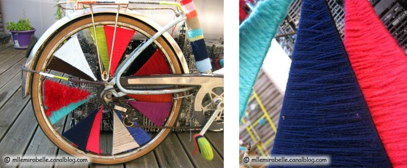 yarn bombing bike wheel