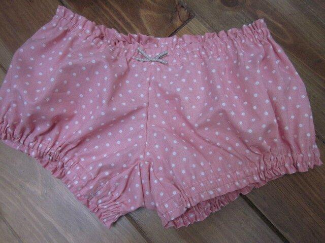Culotte en coton rose à petits pois et noeud beige (1)