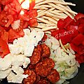 One pot pasta (chorizo-tomate-poivron- oignon-mozzarella)