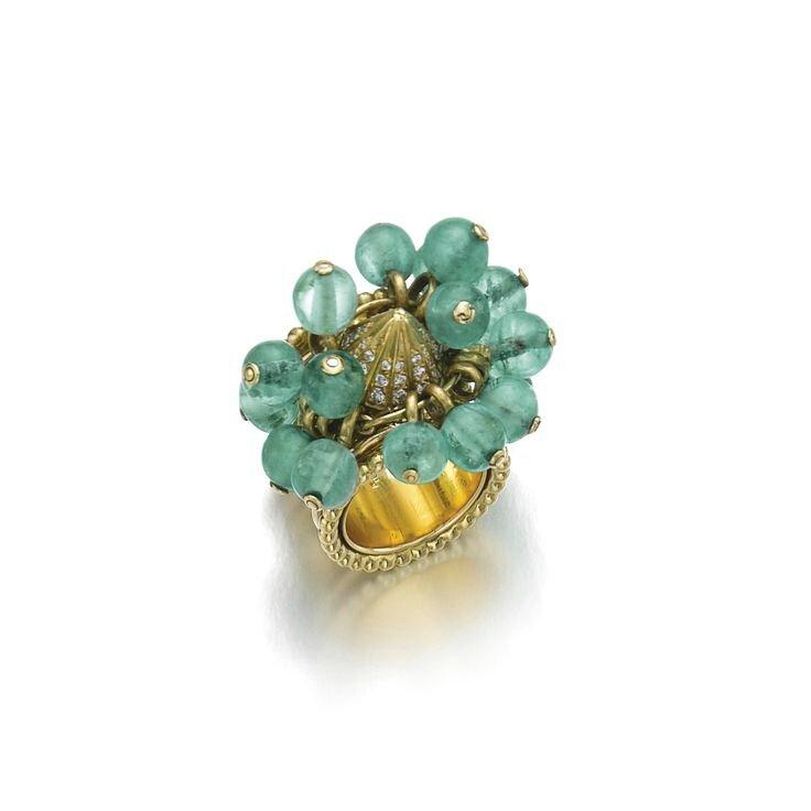 Emerald and diamond ring, 'Pampilles', René Boivin, circa 1950