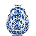 A rare imperial ming-style blue and white 'peach' moonflask, bianhu, qianlong seal mark and of the period