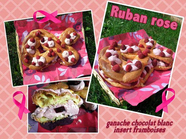 Ruban Rose Ganache chocolat blanc insert framboises (scrap)