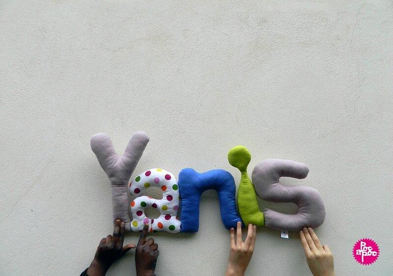mot en tissu,mot decoratif,cadeau de naissance,decoration,chambre d'enfant,cadeau personnalise,cadeau original,poc a poc,yanis blog