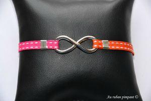 Bracelet Marine - Rubans sellier fushia et orange