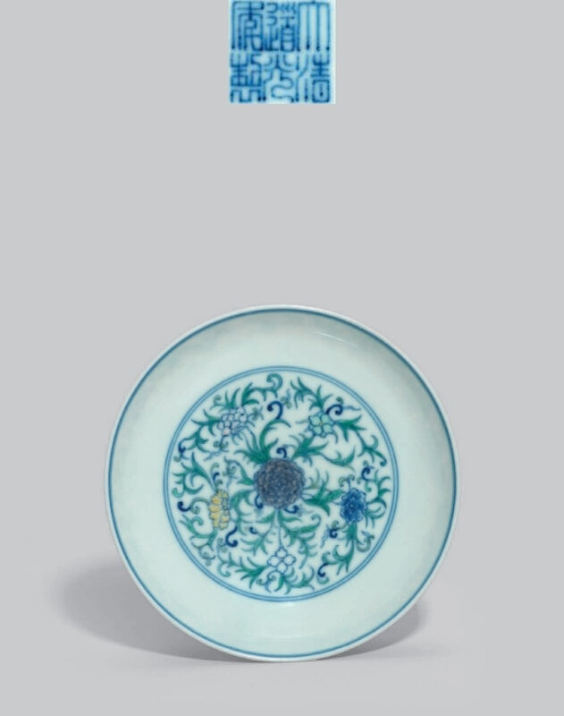 Adoucai'peony' dish, Daoguang six-character seal mark in underglaze blue and of the period (1821-1850)