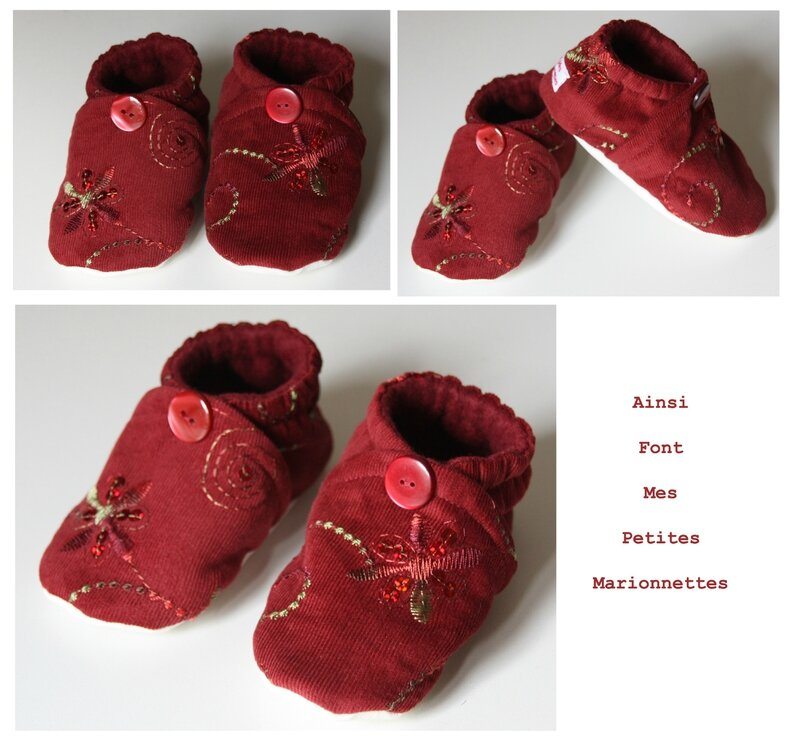 chaussons velours rouge