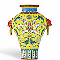 An exquisite yellow-ground famille-rose sgraffiato miniature vase, seal mark and period of qianlong (1736-1795)
