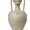 A large straw-glazed amphora, tang dynasty (ad 618-907)