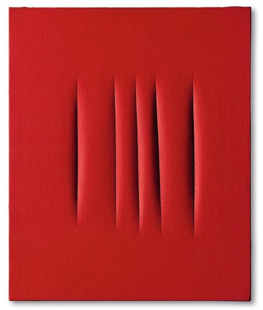 Lucio Fontana (1899 - 1968), Concetto Spaziale, Attese, signed, titled and inscribed È venuta a trovarmi / la Clara on the reverse. Executed in 1965, waterpaint on canvas, 72 by 60 cm; 28⅜ by 23⅝ in