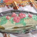 buche crème au beurre, pâte d'amandes, fleurs en pâte d'amandes
