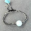 bracelet chaine acier inoxydable et perle naturelle amazonite (bleu vert) pw