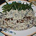 Seitan sauce champignons haricots verts