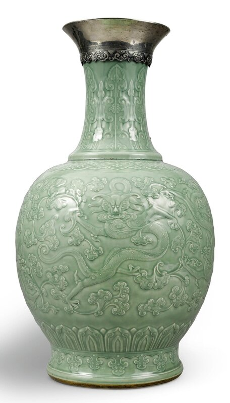 An exceptionally large and rare carved celadon-glazed 'dragon' vase, Qing dynasty, Qianlong period