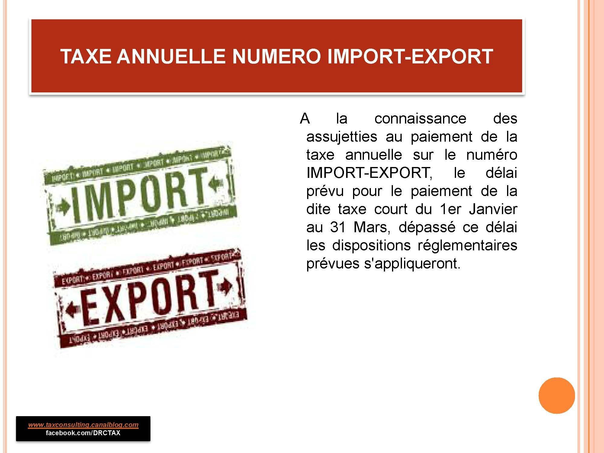 R.D. CONGO : TAXE ANNUELLE SUR NUMÉRO IMPORT-EXPORT