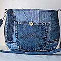 Deux sac à main en denim avec un bouton vintage.