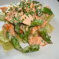 Ravioles de romans au saumon et asperges vertes