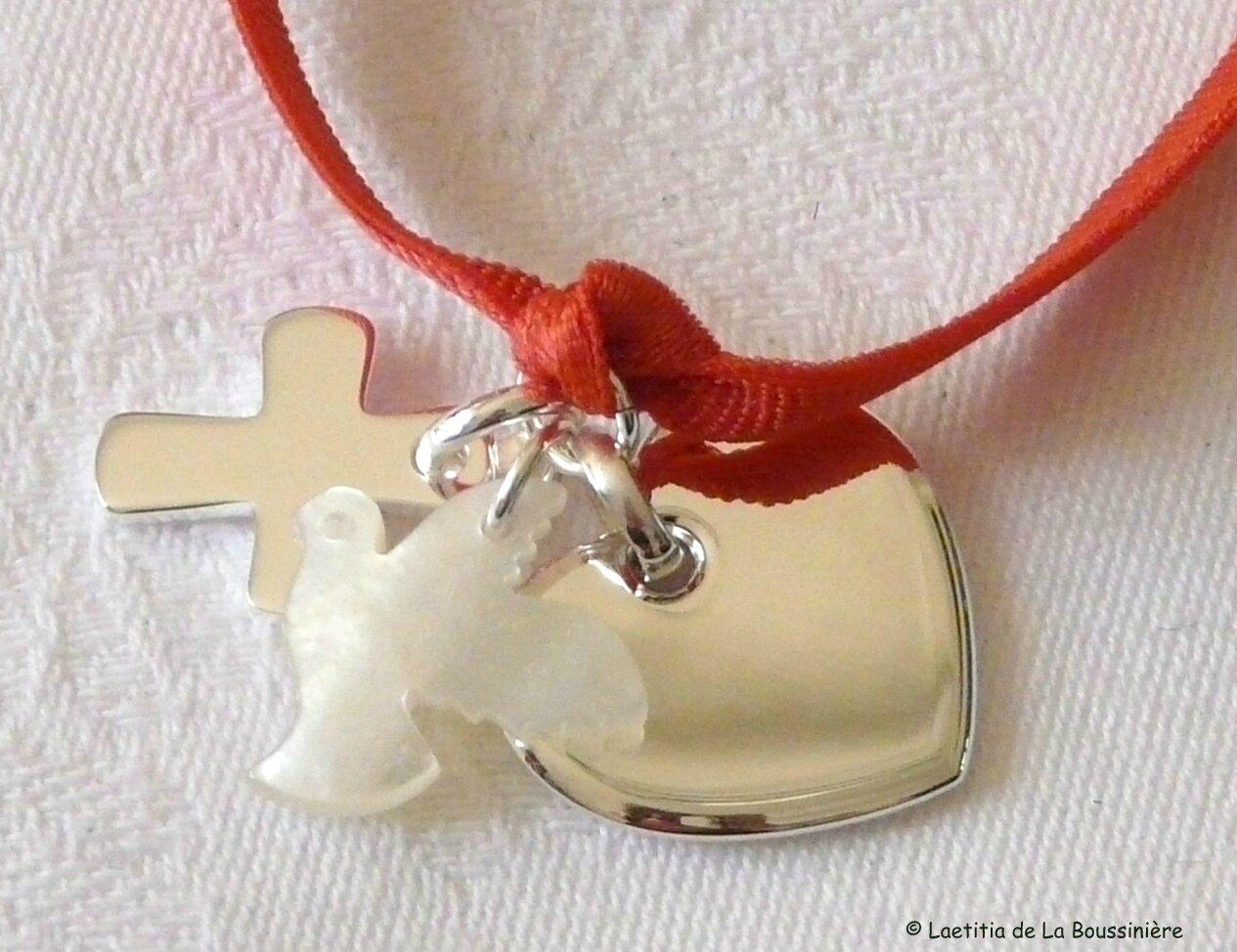 Bracelet Sainte Trinité sur ruban élastique - 68 €