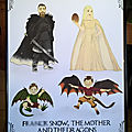 Evanerys, f. snow, drogan et rhaelo- un portrait de famille en personnages de game of thrones
