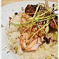Saumon en croûte de noisettes, risotto aux poireaux et huile de noisette !