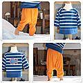 Sarouel en jersey orange et t-shirt marin