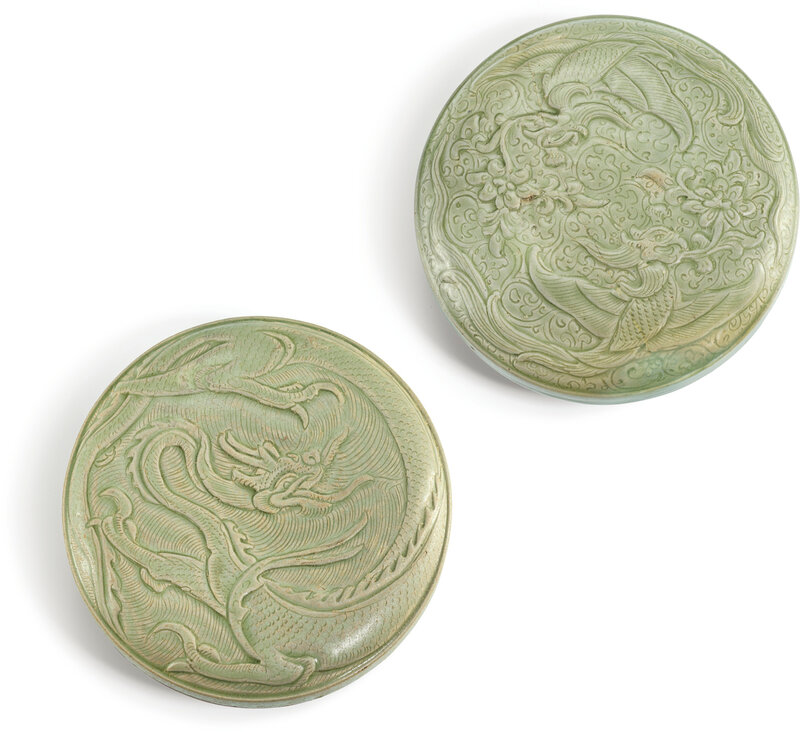 Two Yue celadon boxes and covers, Five dynasties – Song dynasty