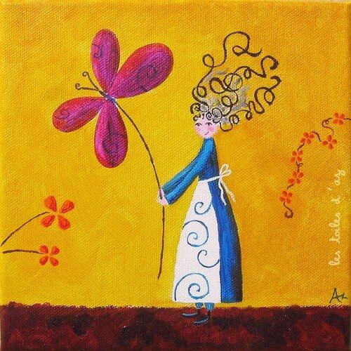 La fleur-papillon 20x20