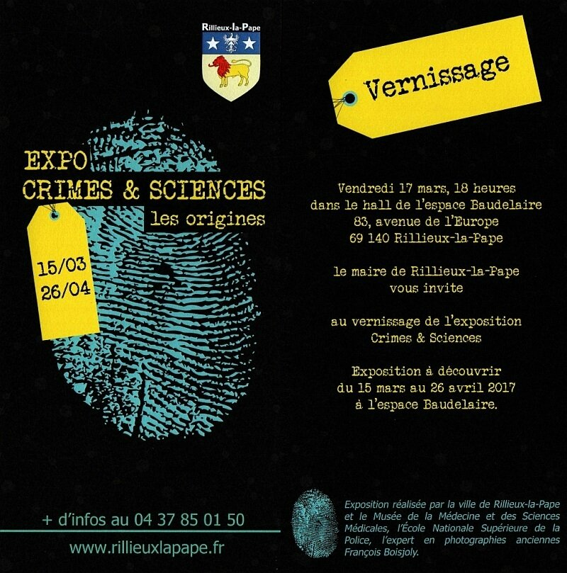 "- Vernissage de l'exposition ""Crimes et Sciences - Les origines"" 17.03.2017."