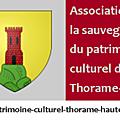 Lettre d'information de l'association du patrimoine de thorame-haute