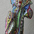 Hervé THAREL - SCHMIMBLOCK'S perroquet 2013 - gouache T7 sur argile - 23cm x 9cm (1)