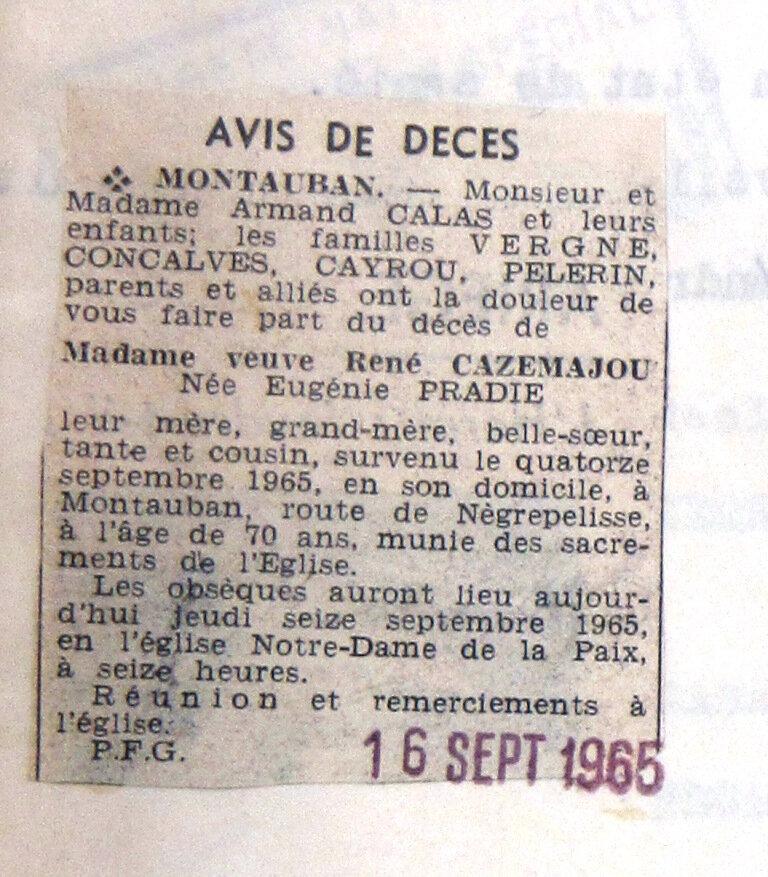 décès Mme Cazamajou