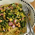 Spaghettis, aux pois chiches, légumes, radis & citron