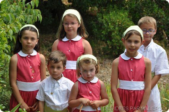 Mariés et enfants d'honneurs - Cortège vert et rose - 3