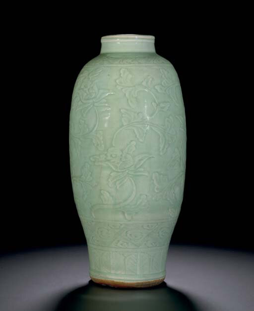 A Longquan celadon carved baluster vase, Ming dyansty, 15th century