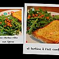 Pois chiches rôtis aux épices et tartine à l'ail confit