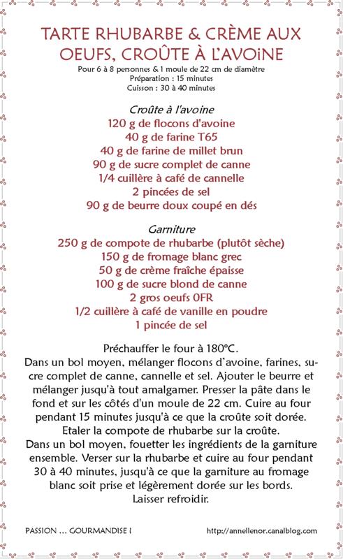 Tarte rhubarbe & crème aux oeufs, compote à l'avoine_fiche