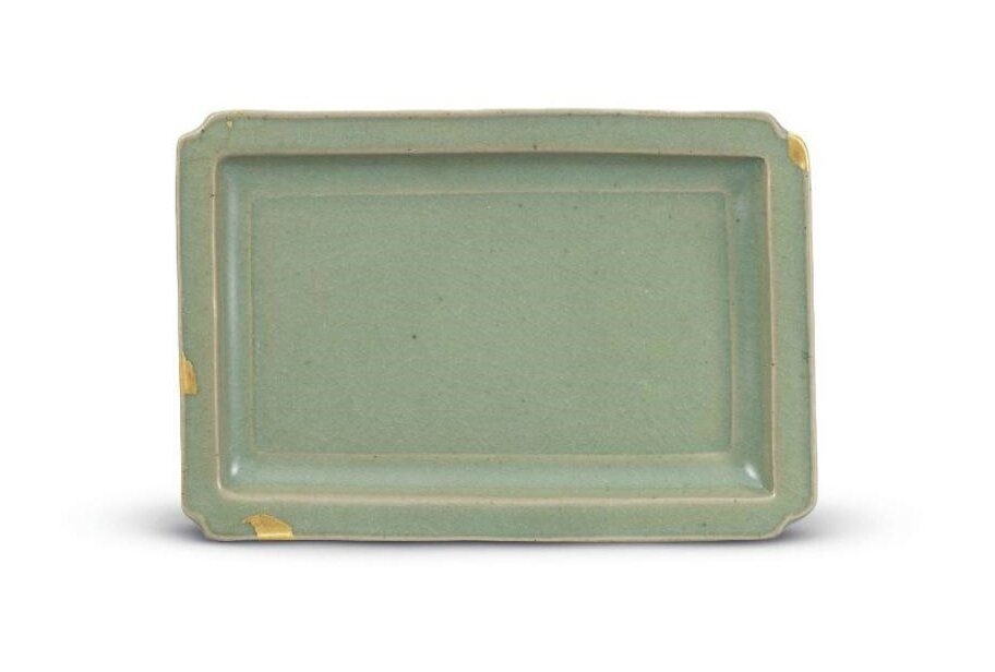 An important and exceptionally rare Ruzhou celadon rectangular dish, Northern Song, 11th-12th century