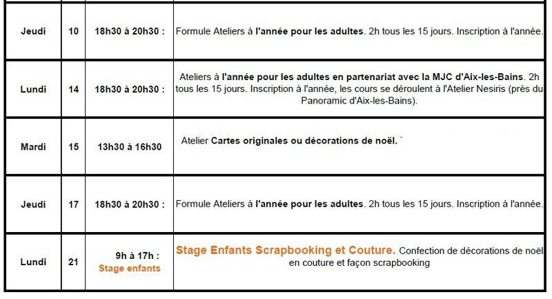 Planning des ateliers Dec 2015 - katia nesiris démonstratrice Stampin'up2