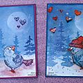 Deux petites cartes rigolotes.. et un tutoriel! / two fun cards and a tutorial