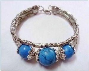 4 RoseBracelet Ethnique Trianon Perles Turquoise 14 et 12 mm Argent du Tibet