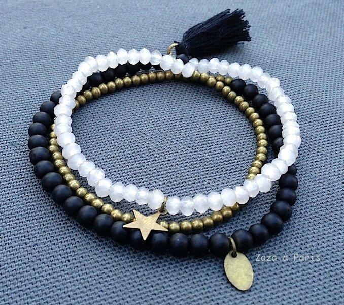 Bracelet Perles Noir Et Blanc Bracelet En Perles Zaza A Paris Bijoux