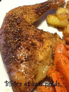 Cuisses de poulet au miel et au sésame grillé gros plan