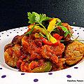 Légumes de saison aux saucisses, sauce tex mex